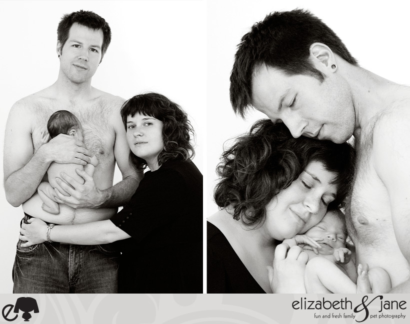 Family Photos: Two black and white photos of the new family, baby boy, naked, Mom and Dad