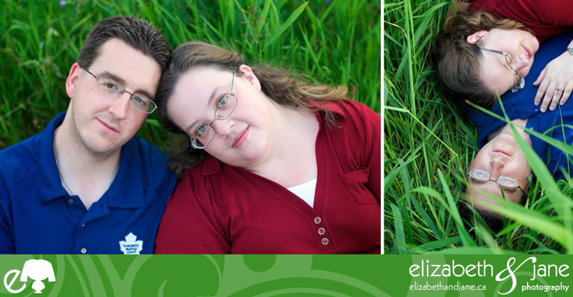 Engagement Photo: two photos of the couple. Left photo is a facial portrait where they are not smiling. Right photo couple is lying in tall green grass