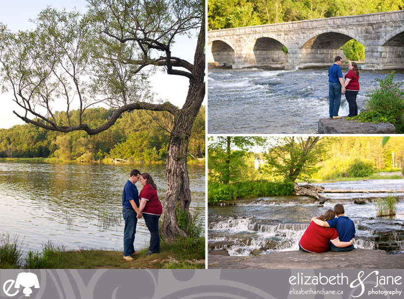 Engagement Photo: three photos of the couple. One of the couple under a tree, one in front of the 5 Span Bridge and one looking at the rapids