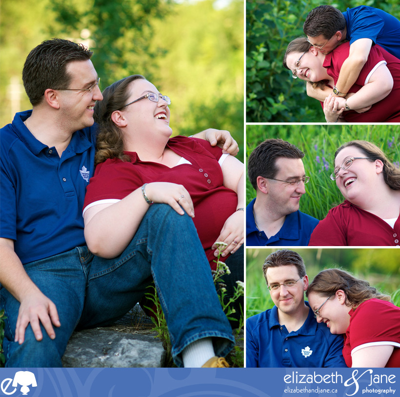 Engagement Photo: four photos of the couple laughing