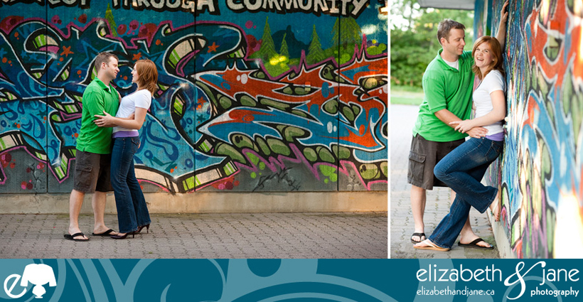 Two photos of a couple standing by a graffiti wall