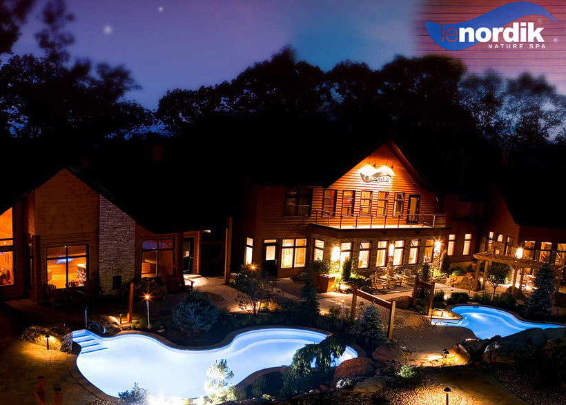 Wedding tip: relax before your wedding, photo of Le Nordik Spa at night