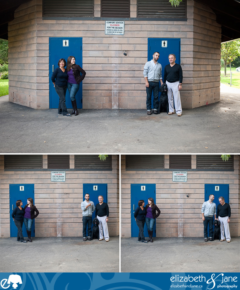 Family Photography: family standing outside of blue doors