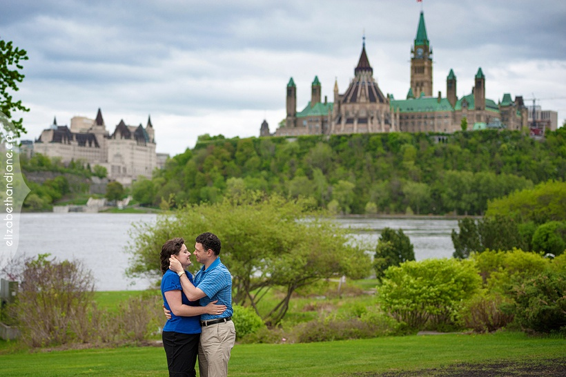 Stephanie and Chris engagement session at the Museum of Civilization overlooking Ottawa