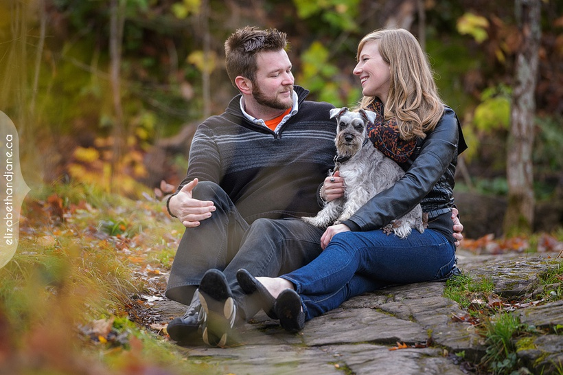 Alayna and Ben had their engagement session at the Champlain Lookout near Ottawa with their dog and photographed by Liz Bradley of elizabeth&jane photography