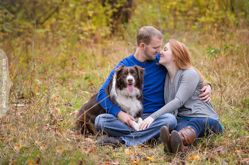 Stephanie and Kyle's engagement photos with their dog, Baldar, photographed in Ottawa by photographer and dog lover, Liz Bradley of elizabeth&jane photography
