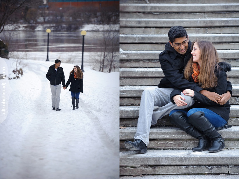 Alison and Ragunath's engagement session photographed in the winter in downtown Ottawa by Liz Bradley of elizabeth&jane photography