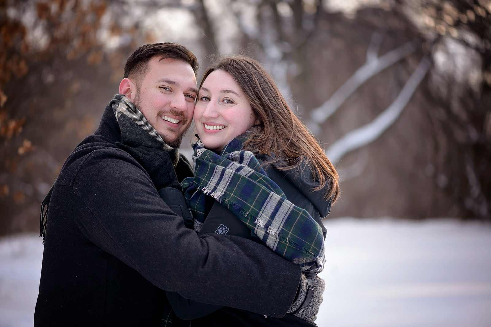 Lauren and Mike's engagement session at Billings Estates in Ottawa classic outdoor portrait in the snow