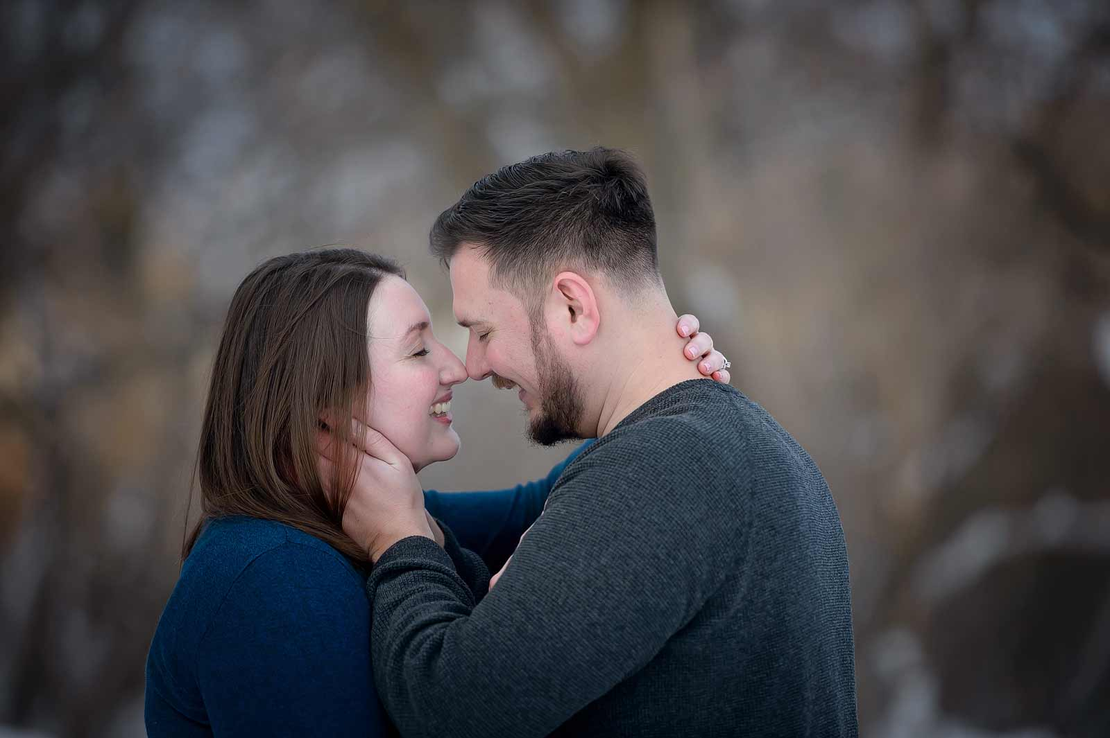 Lauren and Mike's engagement session at Billings Estates in Ottawa having a loving romantic embrace