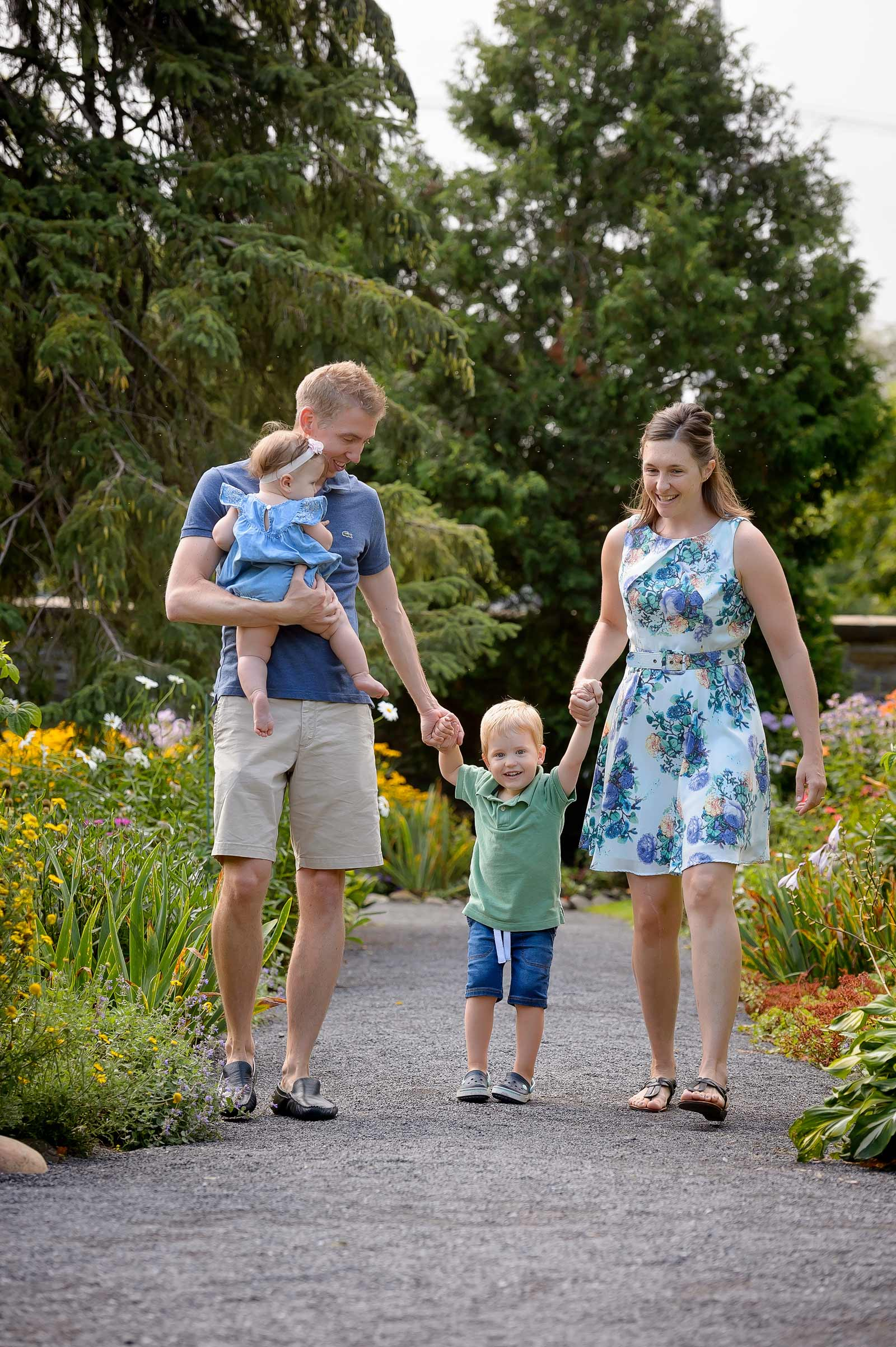 Walking through the paths at Maple Lawn Gardens