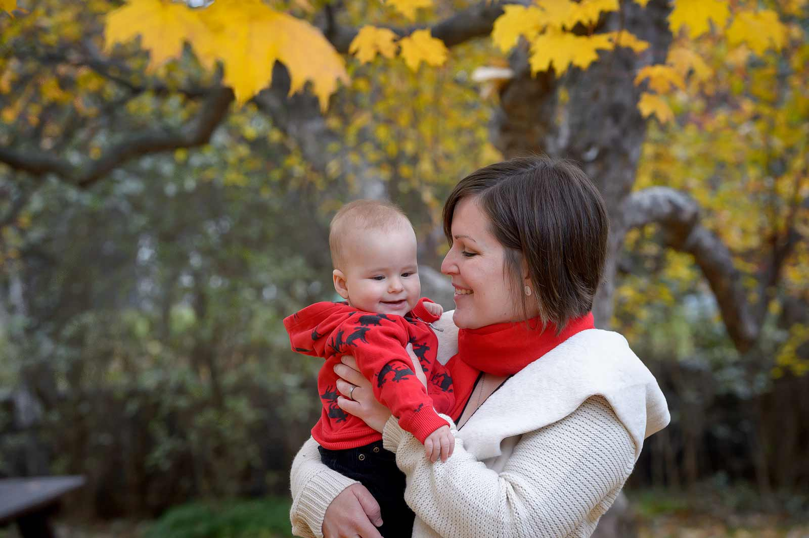 Mom and son in the fall at Maplelawn Gardens