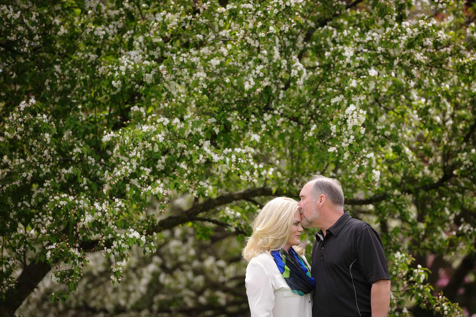 Couple having a kiss in front of spring trees at the Arboretum in Ottawa