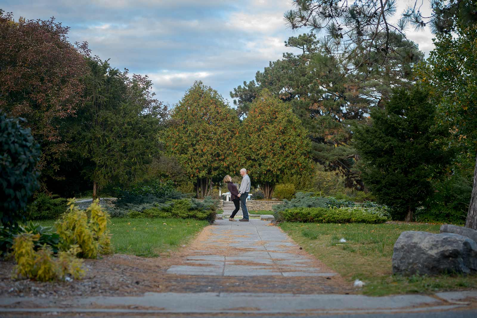 A couple laughing at the Ornamental Gardens