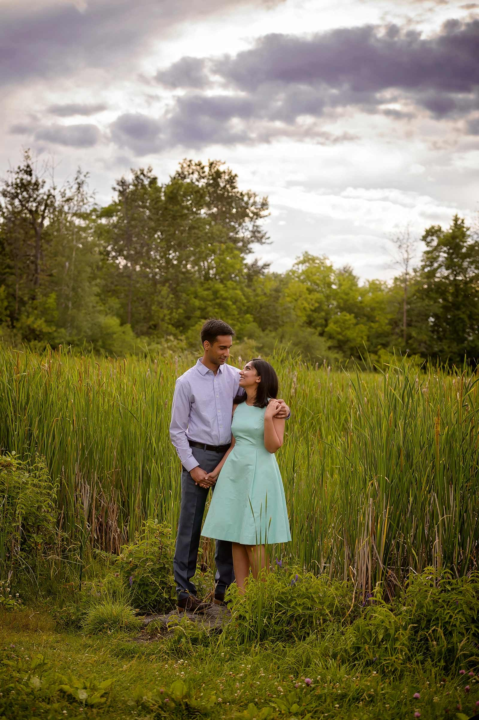 Reeds and beautiful skies with a couple at dow's lake in Ottawa