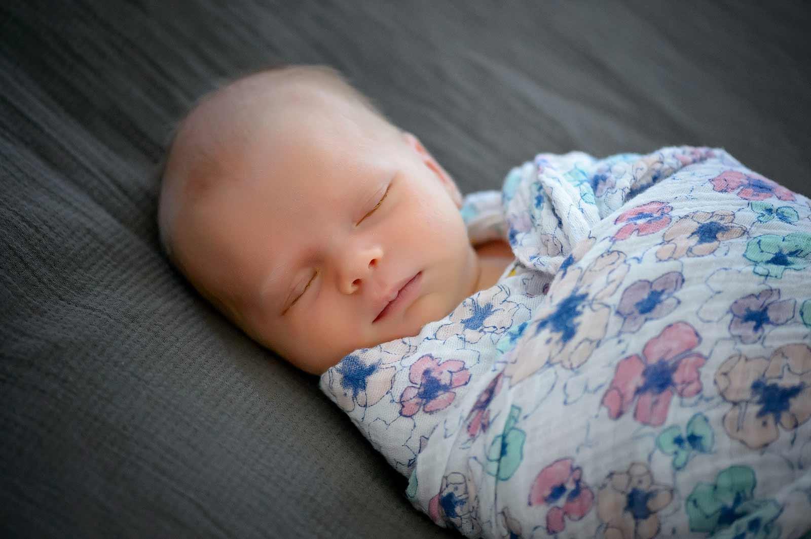 Sweet sleeping baby in Ottawa swaddled