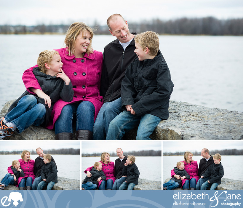 Family portrait of a family at Petrie Island in Ottawa