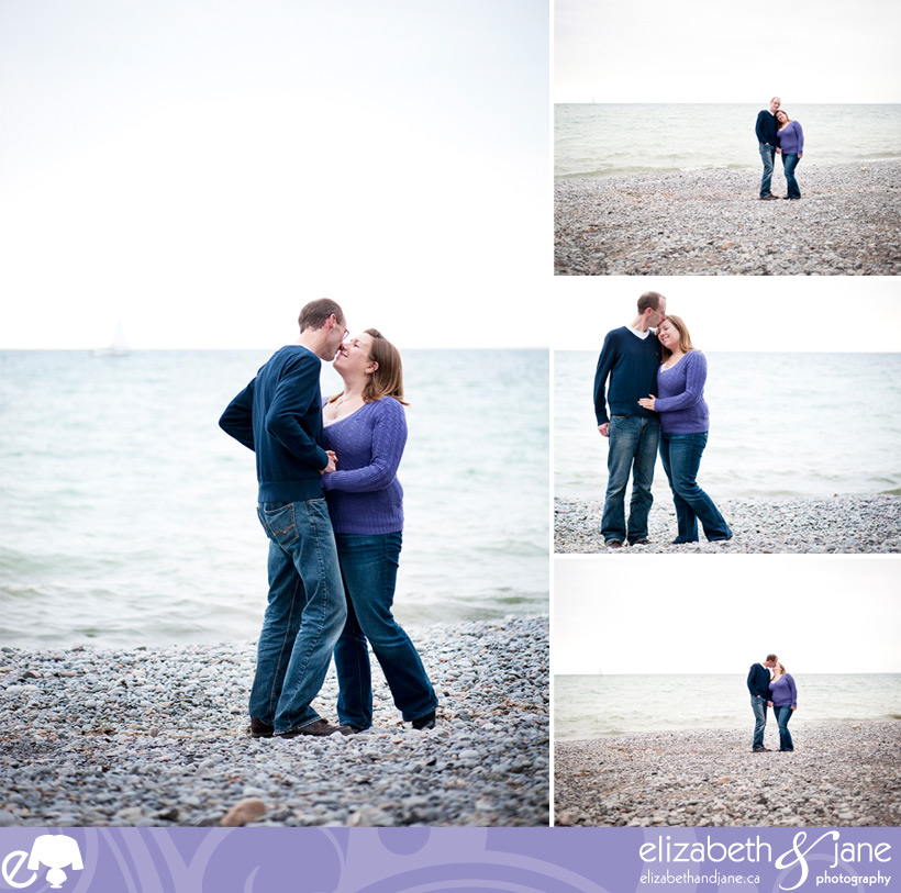 Engagement photo: couple standing on the beach