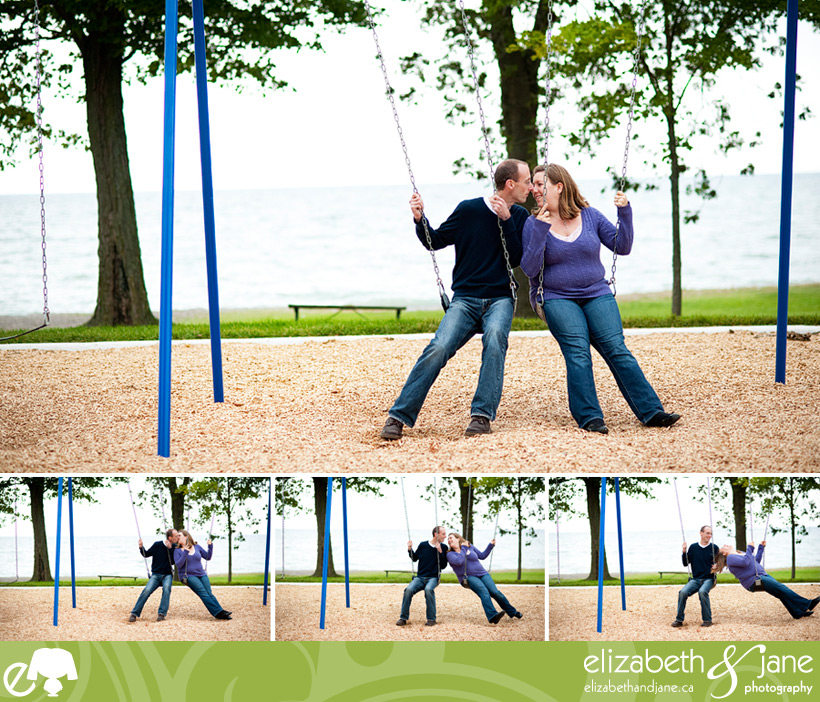 Engagement photo: couple playing on a child's swingset