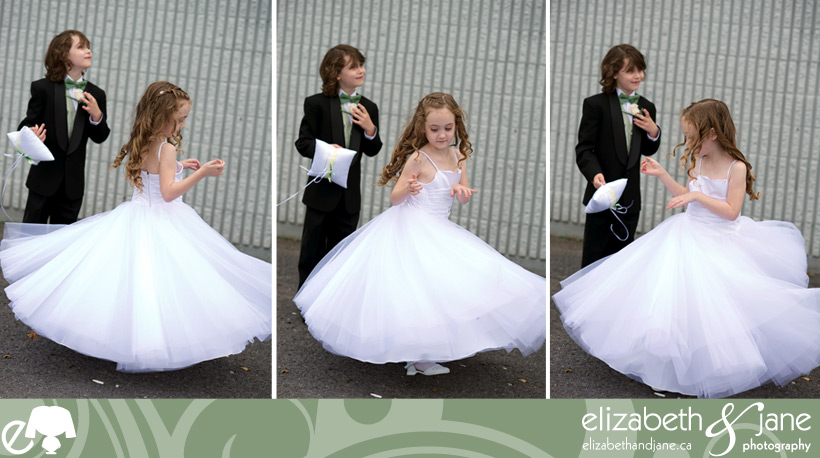 Flower girl twirling in her dress