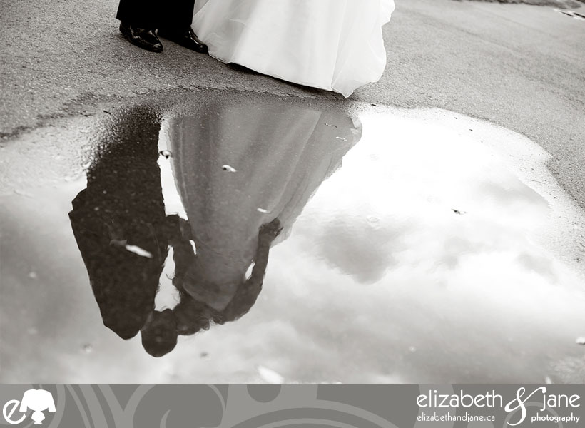 Bride and groom reflection in a puddle