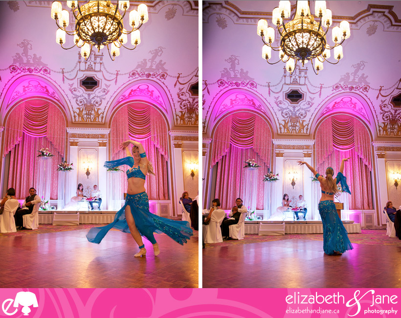Belly dancer dancing for the bride and groom