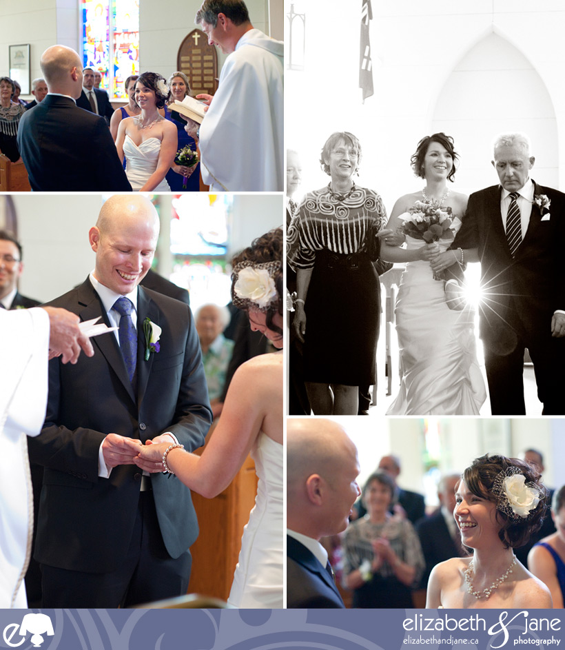A series of photos of the wedding ceremony at the church.