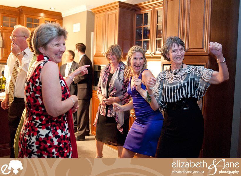 Photos of dancing and people having fun at the reception.