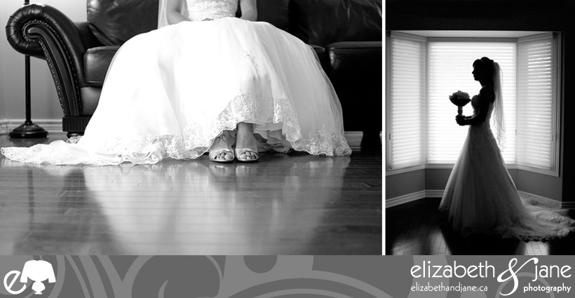 Black and white bridal portraits of the brides dress, shoes and flowers