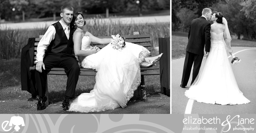 Bride and groom sitting on a bench and walking away kissing
